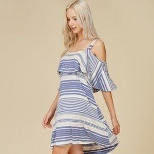 "Crescent "" NEW "" Striped Ruffle Dress"